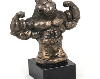 Bull Terrier (strongman), dog marble statue, limited edition, ArtDog. Made of cold cast bronze. Perfect gift. Limited edition