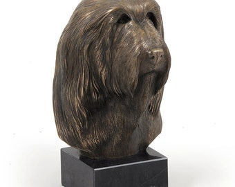 Bearded Collie, dog marble statue, limited edition, ArtDog. Made of cold cast bronze. Solid, perfect gift. Limited edition.