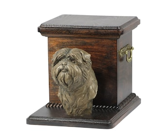Urn for dog's ashes with a standing statue -Apfen Pinscher, ART-DOG Cremation box, Custom urn.