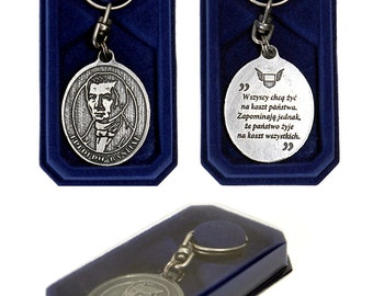 Fredreic Bastiat - silver plated, patina coated keyring coming in an elegant box.