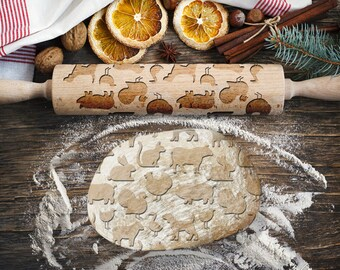 FARM ANIMALS. Engraved rolling pin for Cookies, Embossing Rollingpin, Laser Engraved Rolling-pin. Decorating Roller