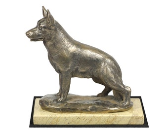 German Shepherd, dog sand marble base statue, limited edition, ArtDog. Made of cold cast bronze. Perfect gift. Limited edition