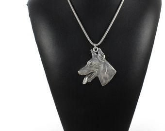 NEW, Doberman Pinscher (toungue), dog necklace, silver cord 925, limited edition, ArtDog