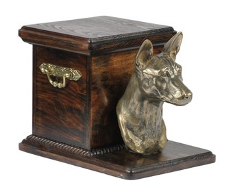 Urn for dog's ashes with a standing statue -Basenji, ART-DOG