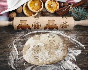 ANGELS. Engraved rolling pin for Cookies, Embossing Rollingpin, Laser Engraved Rolling-pin. Decorating Roller