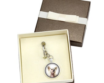 Chinese Crested Dog. Keyring, keychain with box for dog lovers. Photo jewellery. Men's jewellery. Handmade.