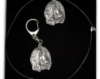NEW, Afghan Hound, dog keyring and necklace in casket, ELEGANCE set, limited edition, ArtDog . Dog keyring for dog lovers