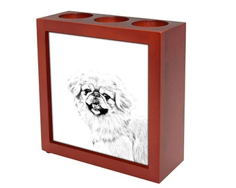 Pekingese - Wooden stand for candles/pens with the image of a dog ! NEW COLLECTION!