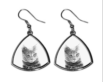 Chartreux, collection of earrings with images of purebred cats, unique gift. Collection!