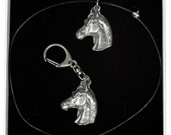 NEW, Arabian Horse, horse keyring and necklace in casket, ELEGANCE set, limited edition, ArtDog