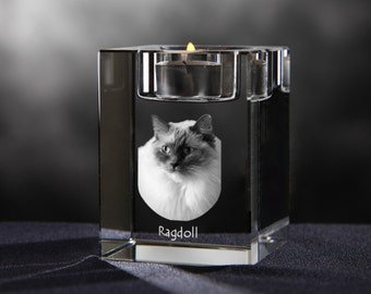 Ragdoll, crystal candlestick with cat, souvenir, decoration, limited edition, Collection