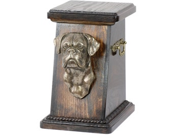 Urn for dog's ashes with a Boxer uncropped statue, ART-DOG Cremation box, Custom urn. Cremation box, Custom urn.
