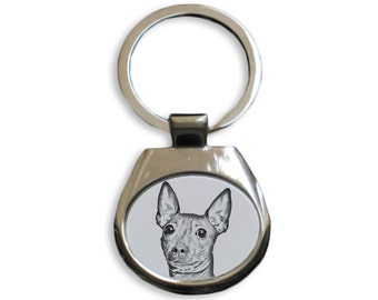 American Hairless Terrier - NEW collection of keyrings with images of purebred dogs, unique gift, sublimation . Dog keyring for dog lovers