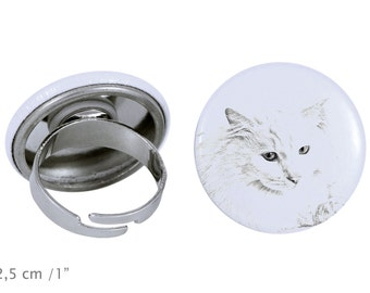 Ring with a cat -Turkish Angora