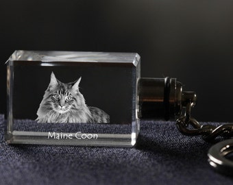 Maine Coon, Cat Crystal Keyring, Keychain, High Quality, Exceptional Gift