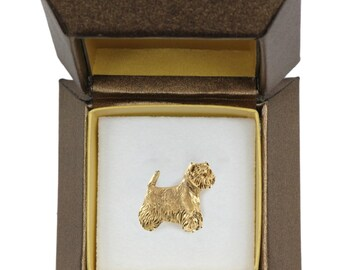 NEW, West Highland White Terrier, dog pin, in casket, gold plated, limited edition, ArtDog
