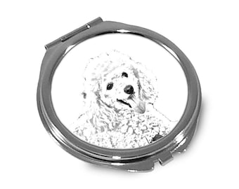 Poodle - Pocket mirror with the image of a dog.