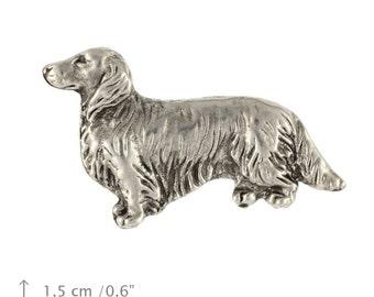 Teckel, Dachshund (longhaired), dog pin, limited edition, ArtDog