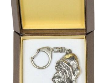 NEW, Bloodhound, dog keyring, key holder, in casket, limited edition, ArtDog . Dog keyring for dog lovers