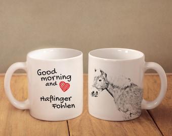 "Haflinger - mug with a horse and description:""Good morning and love..."" High quality ceramic mug. Dog Lover Gift, Christmas Gift"