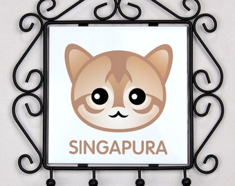A key rack, hangers with Singapura cat. A new collection with the cute Art-dog cat