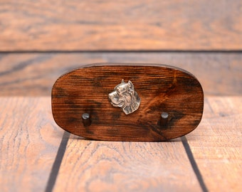Cane Corso, Italian mastiff- Unique wooden hanger with a relief of a purebred dog. Perfect for a collar, harness or leash.