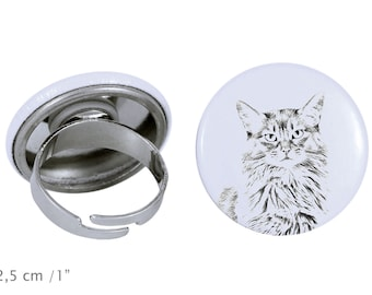 Ring with a cat - Somali cat