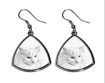 Turkish Angora, collection of earrings with images of purebred cats, unique gift. Collection!