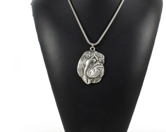 NEW, Shar-Pei, Chinese Shar-Pei, dog necklace, silver chain 925, limited edition, ArtDog