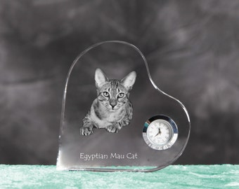 Egyptian Mau- crystal clock in the shape of a heart with the image of a pure-bred cat.