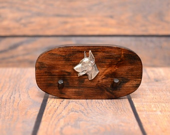 Dobermann - Unique wooden hanger with a relief of a purebred dog. Perfect for a collar, harness or leash.
