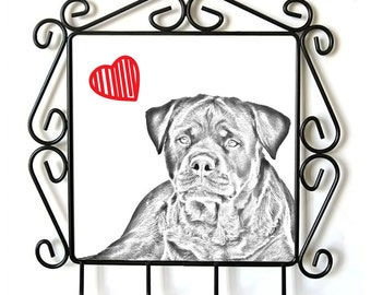 Rottweiler- clothes hanger with an image of a dog. Collection. Dog with heart.