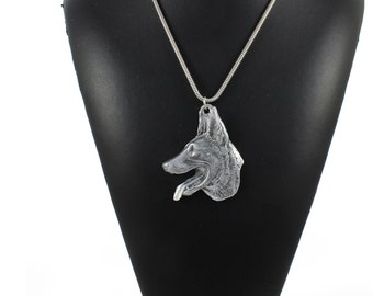 NEW, Malinois, dog necklace, silver cord 925, limited edition, ArtDog