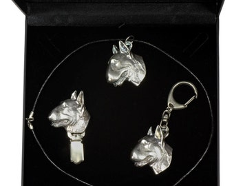 NEW, Bull Terrier, dog keyring, necklace and clipring in casket, DELUXE set, limited edition, ArtDog . Dog keyring for dog lovers