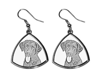 Curly coated retriever - NEW collection of earrings with images of purebred dogs, unique gift