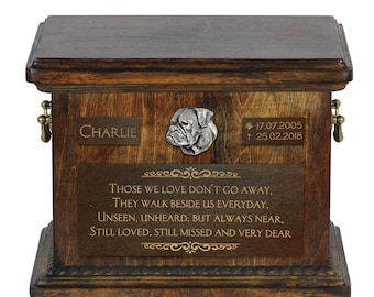 Urn for dog's ashes with relief and sentence with your dog name and date - American Bulldog, ART-DOG. Cremation box, Custom urn.