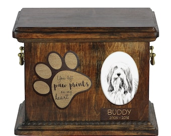 Urn for dog's ashes with ceramic plate and description - Bearded Collie, ART-DOG Cremation box, Custom urn.