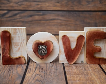 """Wooden sign LOVE great decoration! Purebred dog in the letter """"O"""" - Griffon"""