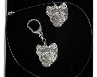 NEW, Papillon, dog keyring and necklace in casket, ELEGANCE set, limited edition, ArtDog . Dog keyring for dog lovers