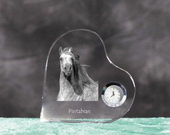 Pintabian - crystal clock in the shape of a heart with the image of a pure-bred horse.