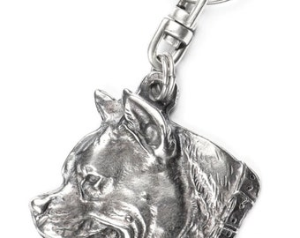 NEW, American Staffordshire Terrier (with collar), dog keyring, key holder, limited edition, ArtDog . Dog keyring for dog lovers
