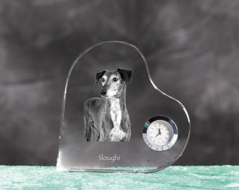 Sloughi- crystal clock in the shape of a heart with the image of a pure-bred dog.
