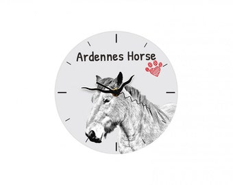 Ardennes horse, Free standing MDF floor clock with an image of a horse.