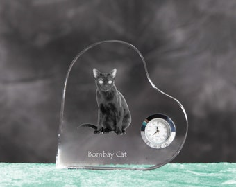 Bombay cat- crystal clock in the shape of a heart with the image of a pure-bred cat.