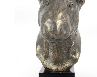 Bullterrier, dog statue on marble base, limited edition, ArtDog. Made of cold cast bronze. Perfect gift. Limited edition