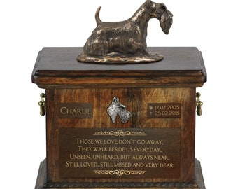 Scottish Terrier - Exclusive Urn for dog ashes with a statue, relief and inscription. ART-DOG. Cremation box, Custom urn.