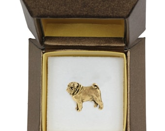 NEW, Pug, dog pin, in casket, gold plated, limited edition, ArtDog