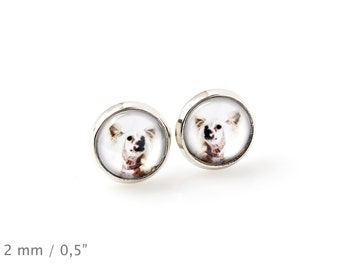 Chinese Crested Dog. Pet in your ear. Earrings. Photojewelry. Handmade.