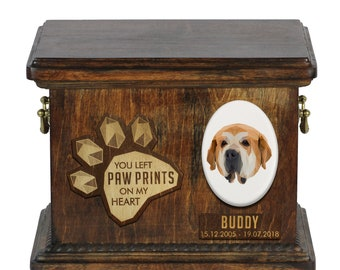 Urn for dog ashes with ceramic plate and sentence - Geometric Spanish Mastiff, ART-DOG. Cremation box, Custom urn.