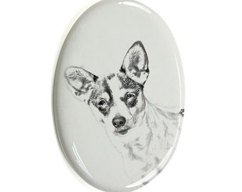 Rat Terrier - Gravestone oval ceramic tile with an image of a dog.